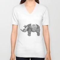 rhino V-neck T-shirts featuring Rhino by farah allegue