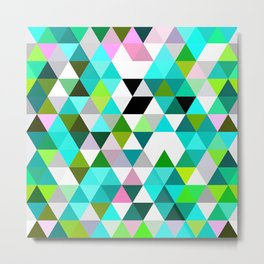 Chic Bright Pink Turquoise Lime Green Colors Funky Retro Triangles Mosaic Pattern Metal Print