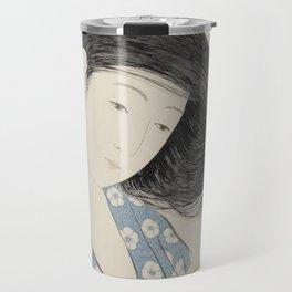 Hashiguchi Goyo: Woman Combing Her Hair Japanese Woodblock Print Blue Floral Kimono Black Hair Travel Mug