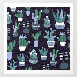 Blue & Green Cactus Art Print