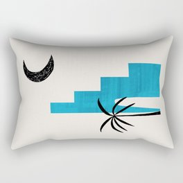 Teal Blue Ancient Ruin Minimalist Mid Century Modern Architecture Moon Lit Palm Tree by Ejaaz Haniff Rectangular Pillow