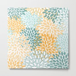 Modern, Floral Prints, Green and Yellow Metal Print