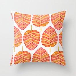Elephant Ear Alocasia – Peach Palette Throw Pillow