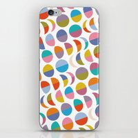 moon phases iPhone & iPod Skins featuring Moon phases by Helene Michau