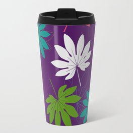 Purple tropical leaves Travel Mug