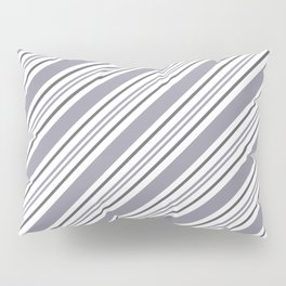 Pantone Lilac Gray and White Thick and Thin Angled Lines - Stripes Pillow Sham