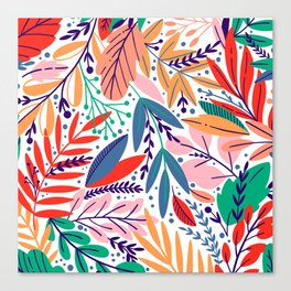 Modern abstract coral forest green floral illustration Canvas Print