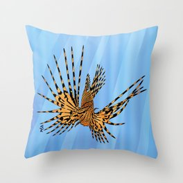 Stained Glass Lionfish Throw Pillow