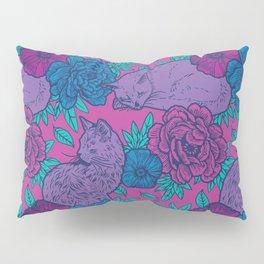 Purple Cats Amongst Flowers Pillow Sham