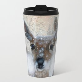 Deer in the Snowy Woods Travel Mug