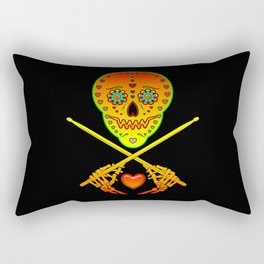 Neon Sugar Skull Drummer. Rectangular Pillow