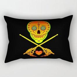 Neon Sugar Skull Drummer. Rectangular Pillow