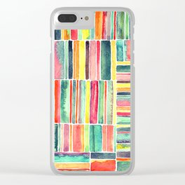 Retro Beach Chair Bright Watercolor Stripes on White Clear iPhone Case