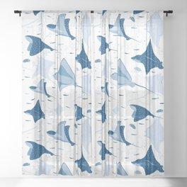 Blue stingrays // white background Sheer Curtain