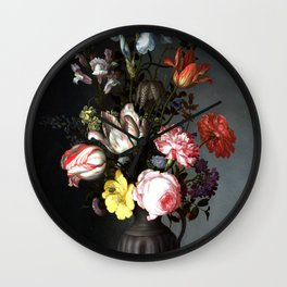 Flowers In A Vase With Shells And Insects Wall Clock