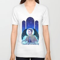 castiel V-neck T-shirts featuring Castiel by enerjax