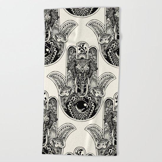 Hamsa Hand Elephant Beach Towel