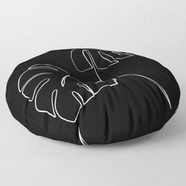 Monstera minimal - black Floor Pillow