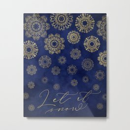 Let it snow, gold lace snowflakes in the night sky Metal Print