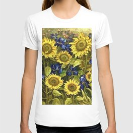 Sunflowers & Blue Irises by Vincent van Gogh T-shirt