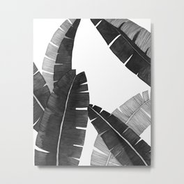 Banana Leaves BW Metal Print