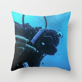Scuba diver flipping off underwater, Middle finger Underwater Throw Pillow