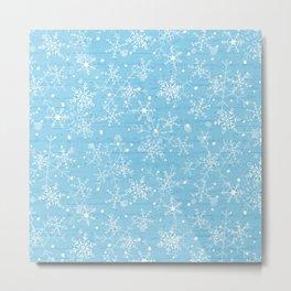 Snowflakes on Blue Wood Metal Print