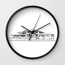 Darwin Martin House in Black & White Wall Clock