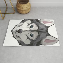 Triangular Geometric Siberian Husky Head Rug