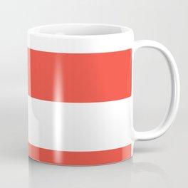 Even Horizontal Stripes, Red and White, XL Coffee Mug