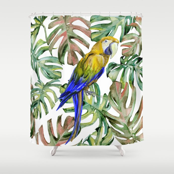 parrot in the jungle shower curtain by magic dreams society6