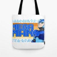 mega man Tote Bags featuring Mega Man by 117 Art