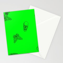 Green Skulls Stationery Cards