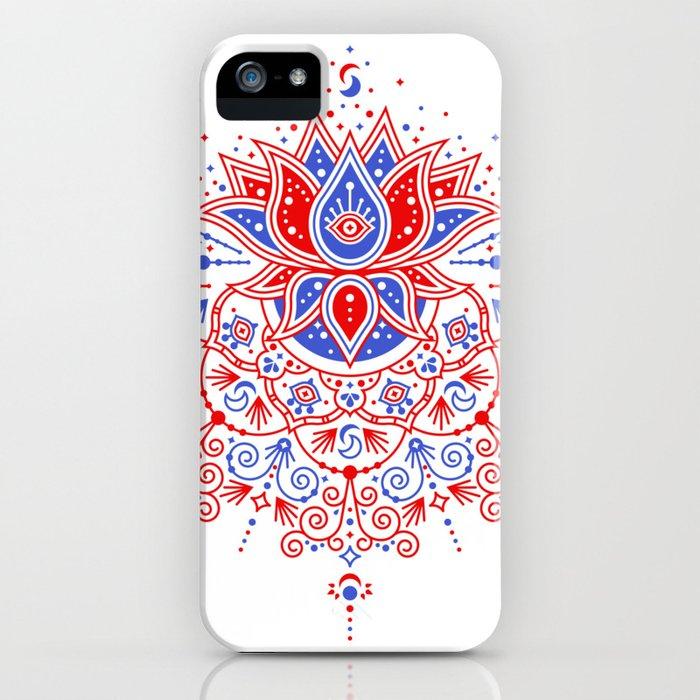Sacred Lotus Mandala – Red & Blue Palette iPhone Case