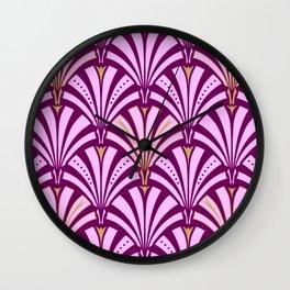 Art Deco Fan Pattern, Orchid and Amethyst Purple Wall Clock