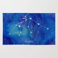 constellation Area & Throw Rugs featuring Constellation Aquarius by ShaMiLa
