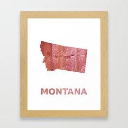 Montana map outline Crimson red nebulous wash drawing Framed Art Print