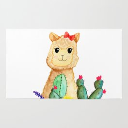 Watercolor Alpaca Llama Fluffy Cute with Cactus & Succulents Rug