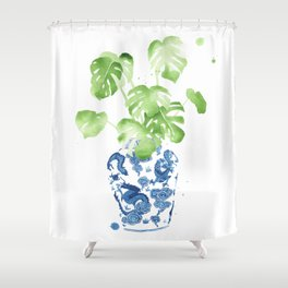 Ginger Jar + Monstera Shower Curtain