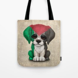 Cute Puppy Dog with flag of Palestine Tote Bag