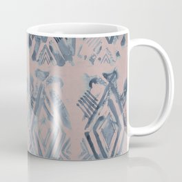 Simply Ikat Ink in Indigo Blue on Clay Pink Coffee Mug