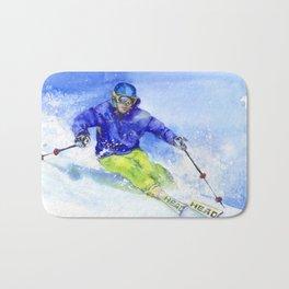 Watercolor skier, skiing illustration Bath Mat