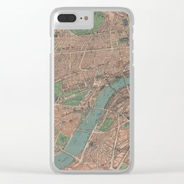 Vintage Pictorial Map of London England (1910) Clear iPhone Case