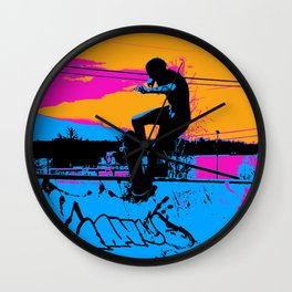 On Edge - Skateboarder Wall Clock