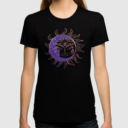 Modern tattoo of sleeping sun and crescent moon design. T-shirt