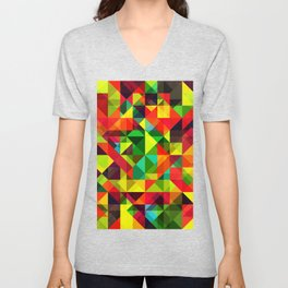 Abstact Multi Color Geometry Unisex V-Neck