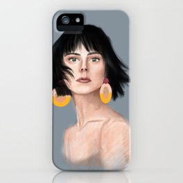 Gold Earrings Illustration iPhone Case