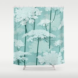 Queen Annes Lace Romance Pattern | Light Mint Shower Curtain