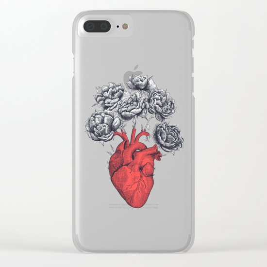 Heart with peonies Clear iPhone Case