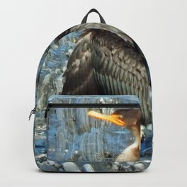Double-Breasted Cormorant Dries Off Backpack